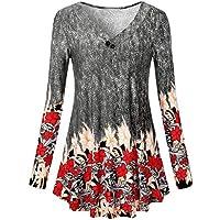 Hanomes Camiseta de Manga Larga con Estampado Floral de Manga Larga Blusa túnica para Mujer