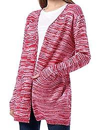VJGOAL Mujer Otoño E Invierno Moda Casual Lana Artificial Jerseys de Punto de Punto Abrigo Delantero Abierto Outwear con Bolsillos