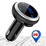 Bluetooth FM Transmitter, CHGeek Wireless Bluetooth Radio Transmitter Adapter with Handsfree Calling with 5V/2.1A Dual Port USB Car Charger with LED Display Support USB Disk, TF, Smart Car Locator