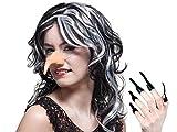 Set de sorcière Nez + 10 griffes ongles longs noirs en latex souple (74438) pour déguisement d'Halloween pour adultes et ados