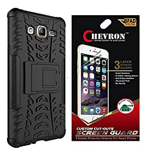 Chevron Tough Hybrid Armor Back Cover Case with Kickstand for Samsung Galaxy On7 with HD Screen Guard (Black)