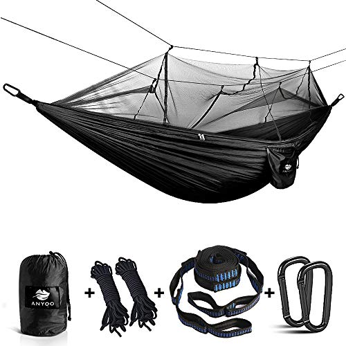 Anyoo Camping Hängematte mit Schnakennetz Nylon Fallschirmstoff Leicht Tragbar Reise Bett für Wandern Backpacken Reisen Seile Karabiner Inbegriffen