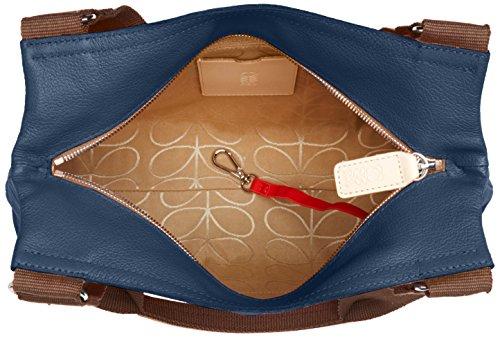Orla Kiely Embossed Flower Leather Classic Zip Shoulder Bag, Sacs portés épaule Bleu (Indigo)