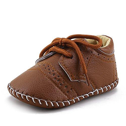 DELEBAO Babyschuhe Baby Turnschuhe Neugeborenen Junge Schuhe Krabbelschuhe Aus Leder Weiche Sneaker für Kleinkinder (Braun,12-18 Monate)