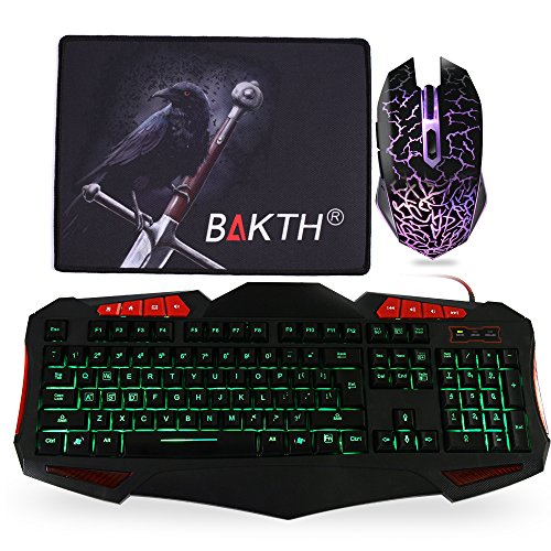 BAKTH 3 Colores LED Retroiluminación USB con Cable Pack de Teclado y Ratón Gaming, PC Teclado para Juegos + Estera Grande del Ratón