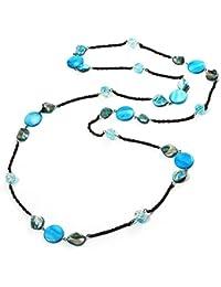 Ausgefallene lange Halskette in Kanonenbronze mit hellblauen Muschelperlen - 150cm Länge