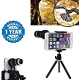 Drumstone 8X Optical Zoom Telescope Mobile Camera Lens Kit With Tripod And Adjustable Holder Works With All Android Or Iphone Devices (1 Year Warranty, Color May Vary)