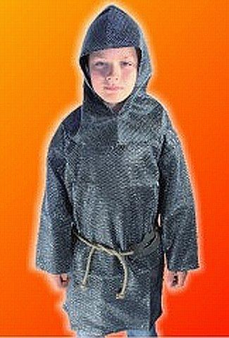 Kettenhemd Kostüm Kinder - Kettenhemd-Set, 3-tlg, silberfarben, Kinder-Kostüm, Gr. 140