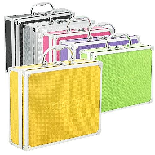 Preisvergleich Produktbild AR CarryBox® Kleiner Alukoffer Werkzeugkoffer Aluminium Koffer leer 260x210x80mm verschiedene Farben, Gelb