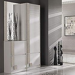 M-020 Vestiaire d'entrée Blanc et Couleur Bois Clair Moderne RIMAC 2