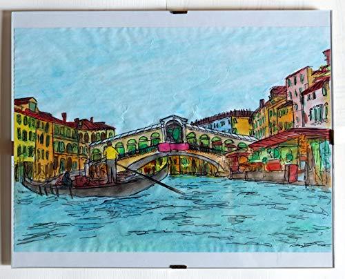 Venezia, ponte di rialto -stampa originale colorata a mano,tecnica ad acquerello+cornice a giorno,dimensioni cm 30x24 cm.made in italy,toscana,lucca.creato da davide pacini.