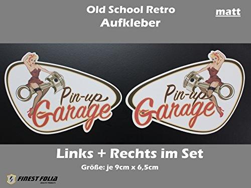 Aufkleber Pinup (Set links+rechts Pin Up Garage Old School Aufkleber von Finest-Folia Sticker Bobber Cafe Racer Retro #8)