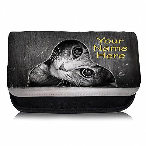 Personalised Peeking Black & White Cat St828 Pencil Case / Make-up Bag / Glasses Medication Carrier