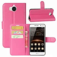 Huawei Y6 2017 Case, HualuBro [All Around Protection] Premium PU Leather Wallet Flip Phone Protective Case Cover with Card Slots for Huawei Y6 2017 Smartphone (Rose)