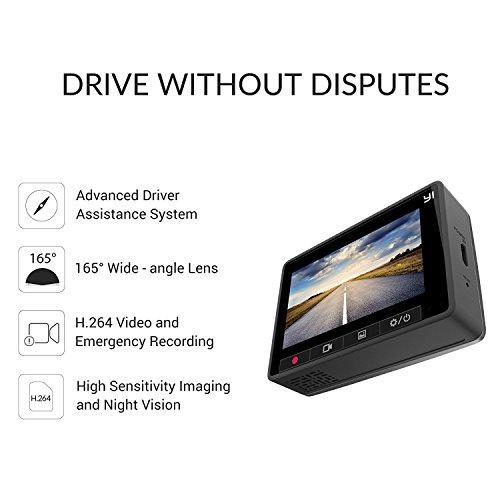 YI Caméra de Voiture WiFi Caméra Embarquée Full HD 1080p Dashcam Voiture Enregistreur de Conduite Écran LCD 2.7 Pouces, ADAS Enregistrement En Boucle Objectif Grand angle 165° - Gris