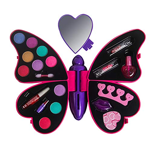 0Miaxudh Schminkspielzeug, Prinzessin Girl Butterfly Shape Make-up Set, Lippenstift Lidschatten...