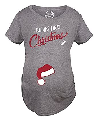 Crazy dog tshirts bumps first christmas maternity shirt for Funny christmas maternity t shirts