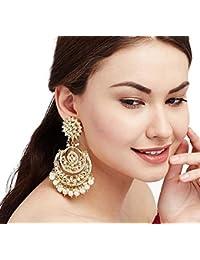 abhaah bollywood celebrity Deepika padukone inspired big oversized latest design traditional look kundan meenakari chandbali jhumkas earrings with pearl chain for women and girls