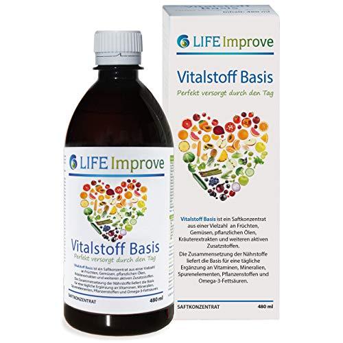 Vitalstoff Basis - tägliche Versorgung mit Vitaminen, Mineralien, Spurenelementen, Pflanzenstoffen und Omega-3-Fettsäuren - 480 ml