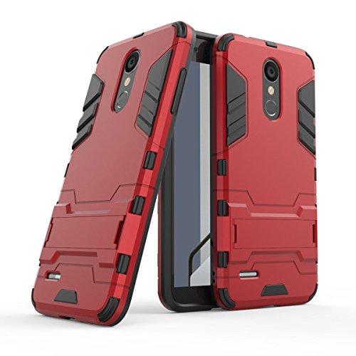 HDRUN LG K9 / LG K8 2018 Hülle, 2 In1 Kratzfeste Handyhülle Hybrid TPU Silikon Bumper Schale PC Doppelschichter Schutzhülle Standfunktion für LG K8 2018 Case Cover, Rot