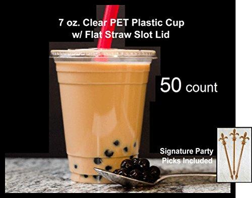 50Zählen 7oz klar PET Kunststoff Tasse und flach Stroh Slot Deckel W/Party Signature Picks