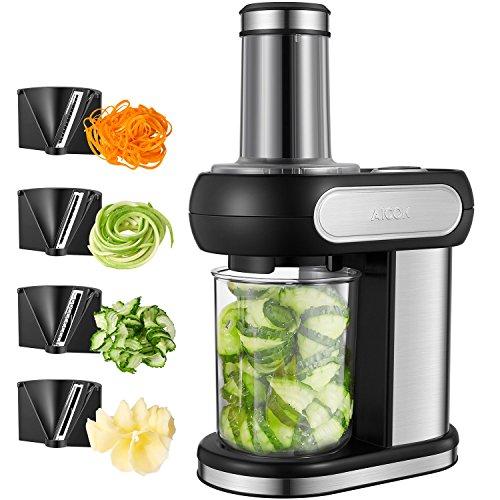 Spiralschneider Elektrisch, Aicok Spiralschneider mit 4 Schneideinsätze, Gemüse Spiralschneider für Für Obst und Gemüsenudeln, Gehäuse aus Edelstahl, 100 Watt(Black-1)