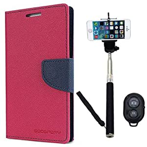 Aart Fancy Diary Card Wallet Flip Case Back Cover For Mircomax A110 - (Pink) + Remote Aux Wired Fashionable Selfie Stick Compatible for all Mobiles Phones By Aart Store