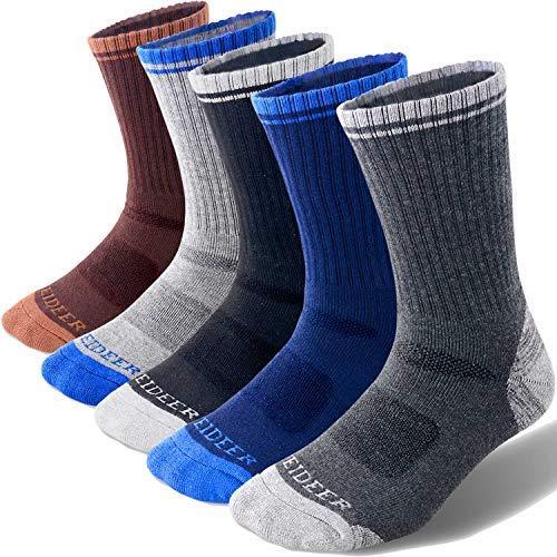 FEIDEER Herren Wandern Walking Socken, Mutli-Pack Wicking Cushioned Outdoor Recreation Crew Socken Herrensocken Größe 6,5-10,5 (US) Schwarz / Grau / Dunkelgrau / Dunkelblau / Schwarz -