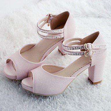 RUGAI-UE Estate Moda Donna Sandali Casual PU scarpe tacchi comfort,Bianco,US8 / EU39 / UK6 / CN39 Blushing Pink