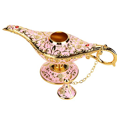Magie Aladdin Lampe, Retro Metall Märchen Aladdin Magie Genie Teekanne Öl Lampe Home Tischdekoration(Rosa)