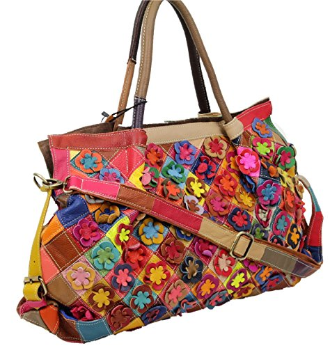 Made in Italy Damen Henkeltasche Schultertasche XL Shopper Bag Echt Leder Blumen Leder Flowerpower (Patchwork-shopper)