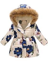 ba2176268 Mitlfuny Invierno Niñas Niños Bebés Chaqueta Plumífero Acolchado Prueba de  Viento Algodón Abrigo con Capucha Floral Estampado Cálido…
