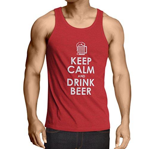 uhe und Getränk Bier - Getting betrunken, lustige Zitate Alkohol Geschenke (X-Large Rot Weiß) ()