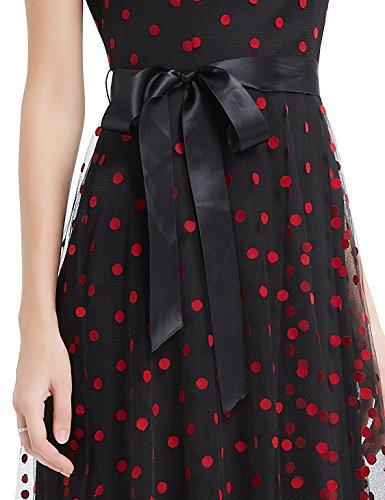 Ever Pretty Robe de Cocktail Robe de Soiree Maxi Vintage a Pois 08753 Noir