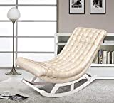 SEEKSUNG Liegestuhl, Massivholz Schaukelstuhl für ältere Menschen, faul Balkon Sofa, einzelner Stuhl, geeignet für Napping, 130 * dick 15CM, Haut weiß