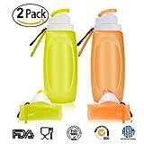 ELUCHANG Faltbare Wasserflasche Silikon-Flasche Squeezy Trinkflasche BPA-Frei für Sport Reisen Radfahren Camping – 320 Ml 2 Stücke