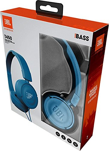 JBL T450 Extra Bass On-Ear Headphones with Mic (Blue) Image 8