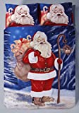 HBS Father Christmas Santa Claus Xmas Single Bed Duvet / Quilt Cover Bedding Set Cotton Rich Reversible Bedding Duvet Cover with Pillowcase Red