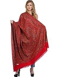 Exotic India Reversible Jamawar Shawl with Woven Paisleys