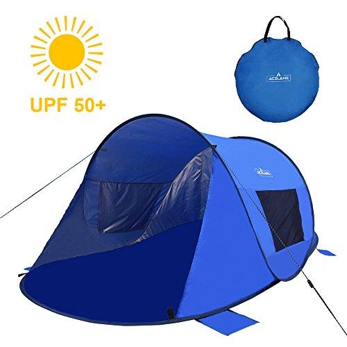 Acelane Tienda de Campaña Instantánea de 2 Personas Para Playa Carpa Refugio Parasol para Adultos Niños y Bebés con protección Uva 220 x 130 x 100 cm (azul)