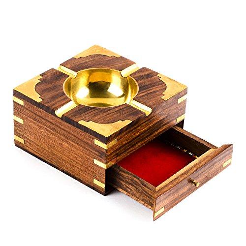 rusticity madera caso de cigarrillos y cenicero con esquinas de latón | hecho a mano | (4,5x 4,5en)