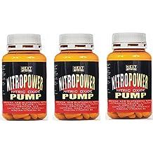Estimulando el óxido nítrico PRE WORKOUT   Nitro Power Pump 3 paquetes de 120 comprimidos   GH   Pre entrenamiento   Aumentar la masa muscular - mayor rendimiento   Recuperación muscular   Formulación con: Arginina Acg Péptido glutamina Citrulina Taurina Ornitina AKG Vitamina C Vitaminas de la cafeína de la cafeína