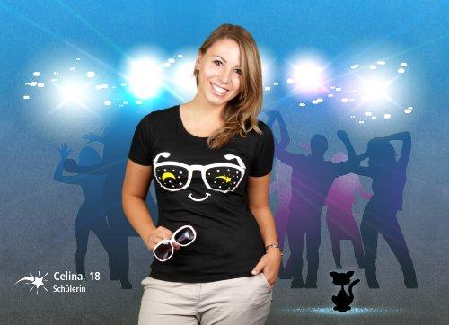 Partybrille - Damen T-Shirt von Kater Likoli Deep Black