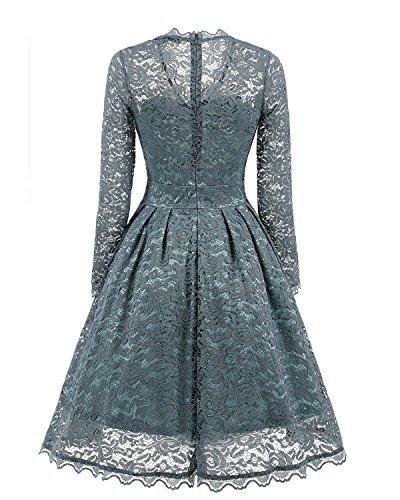 Adodress Elegantes Frauen Kleid Spitze Kleid CocktailKleid Knielanges Weinlese 50s Hochzeitsfest Ballkleid Blau Grau