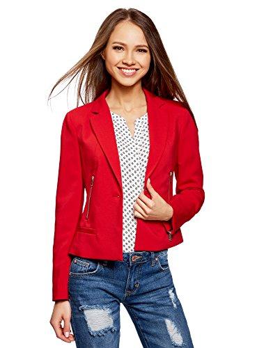 oodji Ultra Damen Taillierter Blazer mit Reißverschlüssen, Rot, DE 34 / EU 36 / XS