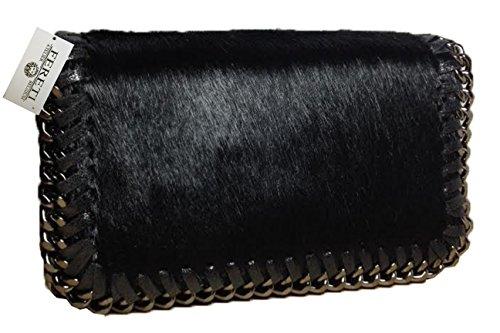 FERETI Borsa di pelliccia pelle a tracolla Nero con catena piccole borsello