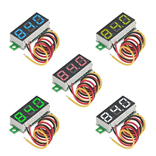5 stücke Mini Digital Voltmeter DC 0,28 Zoll Drei-zeilen DC 0-100 V Mini Digital Voltmeter Messgerät Tester Led-anzeige Verpolungsschutz und Genaue Druckmessung 5 Farben von MakerHawk (3 Loch Mini)