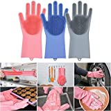 Wonderz Silicone Kitchen Magic Gloves for Dishwashing Rubber Dish Washing with Brush Cleaning Scrubber – 1 Pair (Multi color)