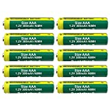 Pack of 10 Buyabattery AAA 300mAh 1.2V NiMH Rechargeable Solar Light Batteries