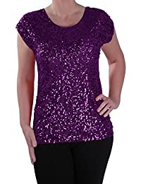 EyeCatch - Womens Sequin Embellished Sparkle Party Ladies Evening Top